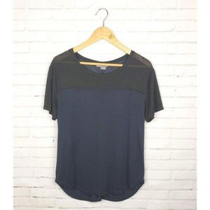 VINCE Navy Blue Black Two Toned Mesh Blouse